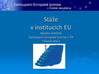 Stáže  v institucích EU Natálie VLKOVÁ Zastoupení Evropské komise v ČR Tisková sekce