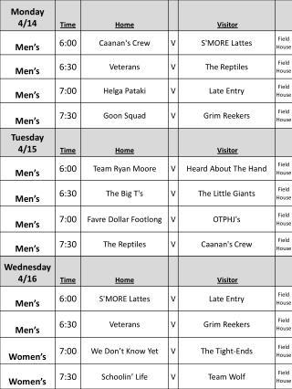 2014 Arena Football Schedule