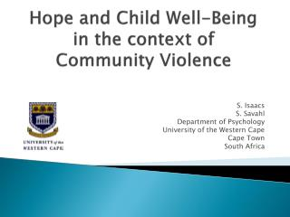 Hope and Child Well-Being in the context of Community Violence