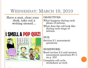 Wednesday: March 10, 2010