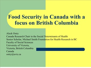 Food Security in Canada with a focus on British Columbia