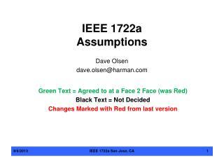 IEEE  1722a Assumptions