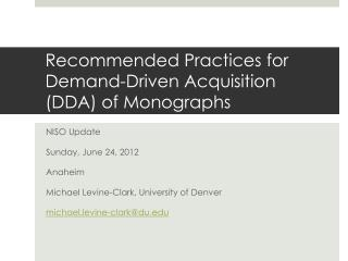 Recommended Practices for Demand-Driven Acquisition (DDA) of Monographs