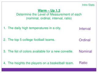 Intro Stats Warm – Up 1.3 Determine the Level of Measurement of each