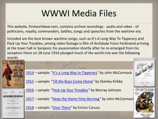 WWWI Media Files