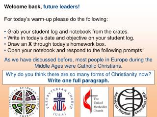Welcome back,  future leaders! For today's warm-up please do the following: