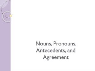 Nouns, Pronouns, Antecedents, and Agreement