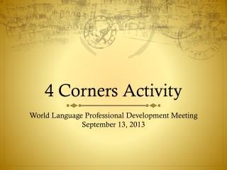 4 Corners Activity