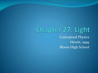 Chapter 27: Light