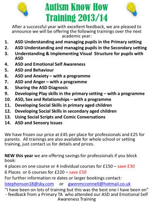 Autism Know  How Training 2013/14