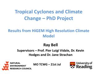 Ray Bell Supervisors – Prof. Pier Luigi  Vidale , Dr. Kevin Hodges and Dr. Jane Strachan
