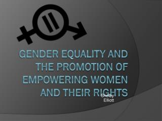 Gender equality and the promotion of Empowering women and their rights