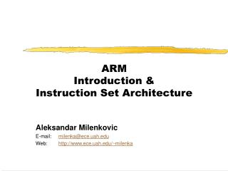 ARM Introduction  Instruction Set Architecture
