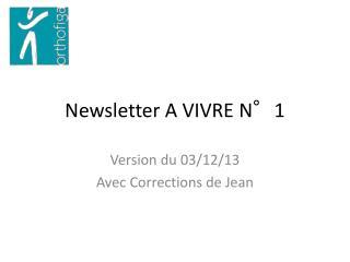Newsletter A VIVRE N°1