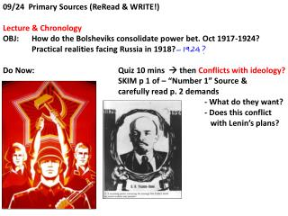 09/24  Primary Sources ( ReRead  & WRITE!) Lecture & Chronology