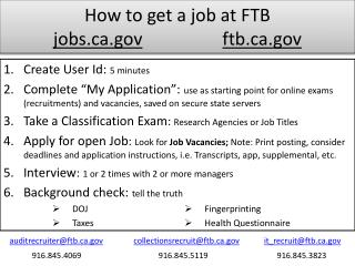 How to get a job at FTB jobs.ca.gov ftb.ca.gov