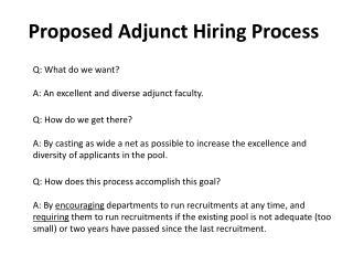 Proposed Adjunct Hiring Process