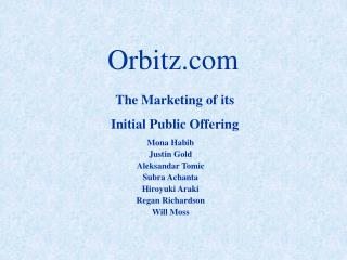 The Marketing of its Initial Public Offering