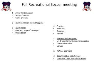 Fall Recreational Soccer meeting
