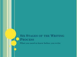 Six Stages of the Writing Process