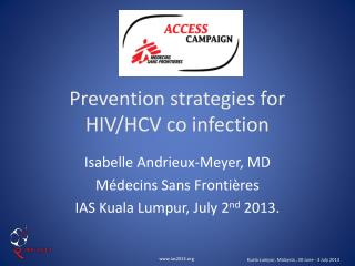 Prevention strategies for HIV/HCV co infection