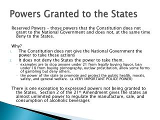 Powers Granted to the States