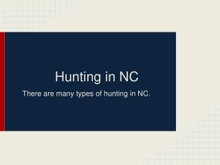 Hunting in NC