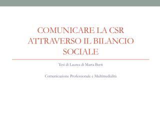 COMUNICARE LA CSR ATTRAVERSO IL BILANCIO SOCIALE