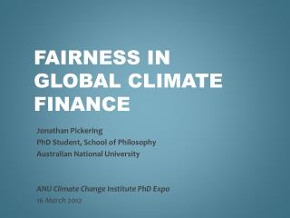 Fairness in global climate finance