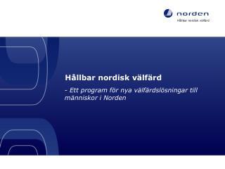 Hållbar  nordisk  välfärd