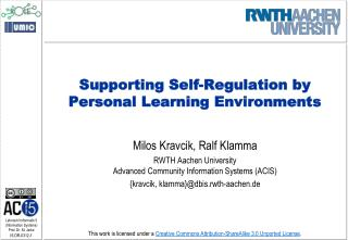 Supporting Self-Regulation by Personal Learning Environments
