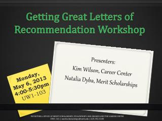 Getting Great Letters of Recommendation Workshop