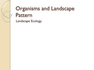 Organisms and Landscape Pattern