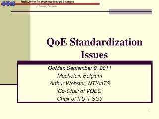 QoE Standardization Issues