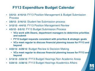 FY13  Expenditure Budget Calendar