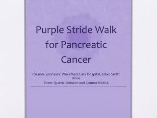 Purple Stride Walk for Pancreatic Cancer