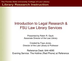 Introduction to Legal Research   FSU Law Library Services