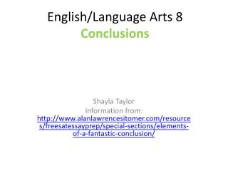 English/Language Arts 8 Conclusions