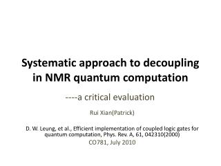 Systematic approach to decoupling in NMR quantum computation
