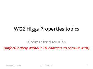 WG2 Higgs Properties topics