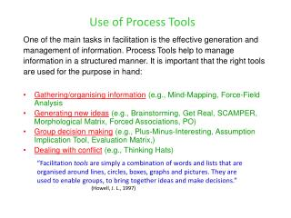 Use of Process Tools