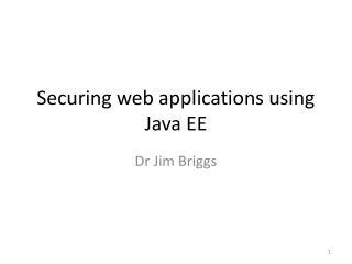 Securing web applications using Java EE