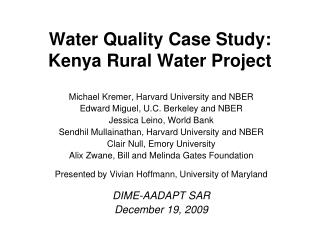Water Quality Case Study: Kenya Rural Water Project