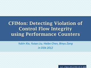 CFIMon : Detecting Violation of  Control Flow Integrity  using Performance Counters