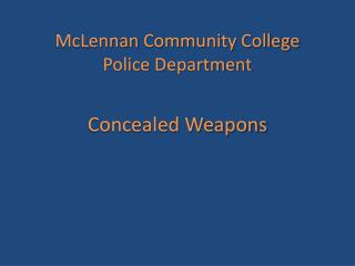 McLennan  Community College Police  Department