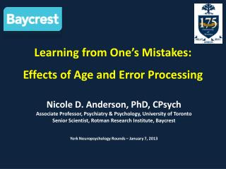 Learning from One�s Mistakes:  Effects of Age and Error Processing