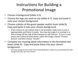 Instructions for Building a  Promotional Image