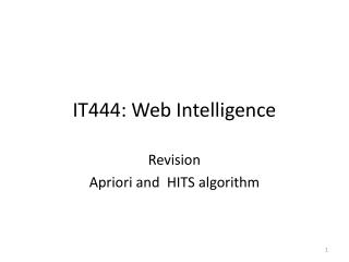 IT444: Web Intelligence