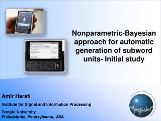 Nonparametric-Bayesian approach for automatic generation of subword units- Initial study