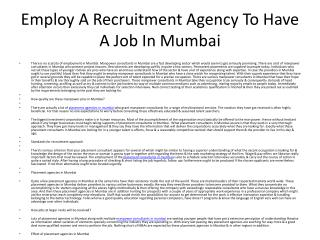 Employ A Recruitment Agency To Have A Job In Mumbai